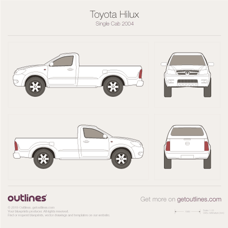 2001 Toyota Hilux VI Pickup Truck blueprints and drawings