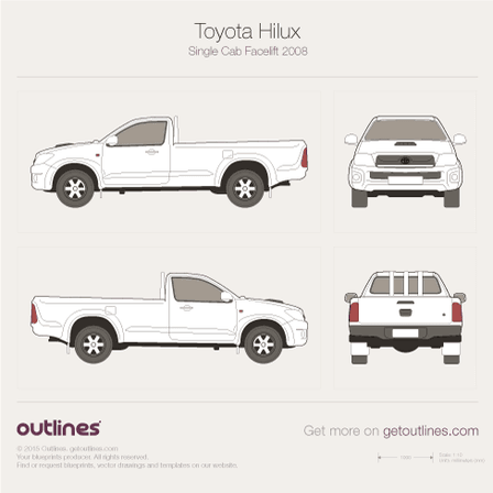 2005 Toyota Hilux VII Single Cab Pickup Truck blueprint