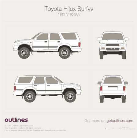 1995 Toyota Hilux Surf N180 SUV blueprints and drawings
