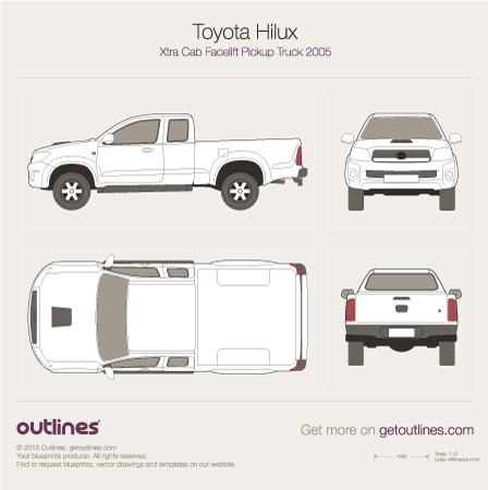 2005 Toyota Hilux Xtra Cab Pickup Truck blueprints and drawings