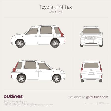 2017 Toyota JPN Taxi Wagon blueprints and drawings