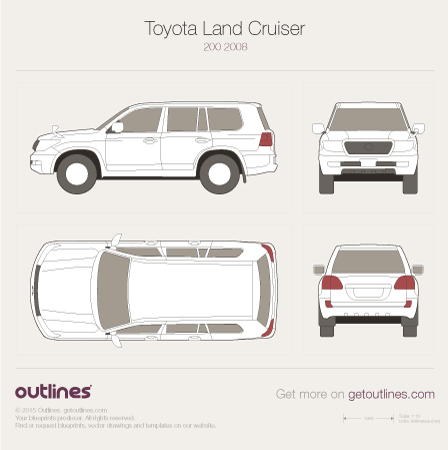 2007 Toyota Land Cruiser V8 SUV blueprints and drawings