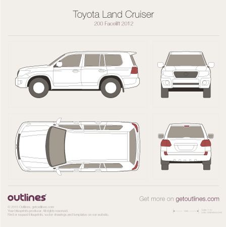 2012 Toyota Land Cruiser 200 SUV blueprints and drawings