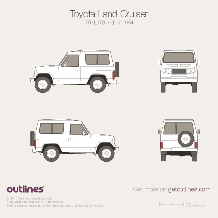 1984 Toyota Land Cruiser 70 SUV blueprints and drawings