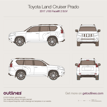 2017 Toyota Land Cruiser Prado J150 SUV blueprints and drawings