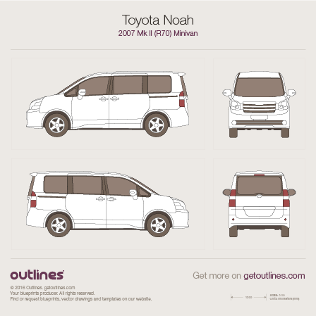 2007 Toyota Noah R70 Minivan blueprints and drawings