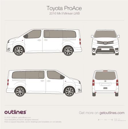 2016 Toyota ProAce II Long Minivan blueprint