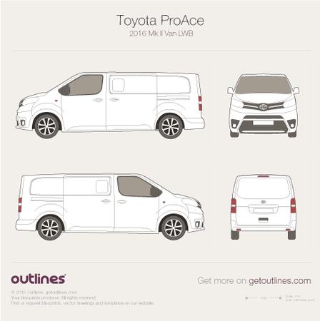 2016 Toyota ProAce II Long Van blueprint