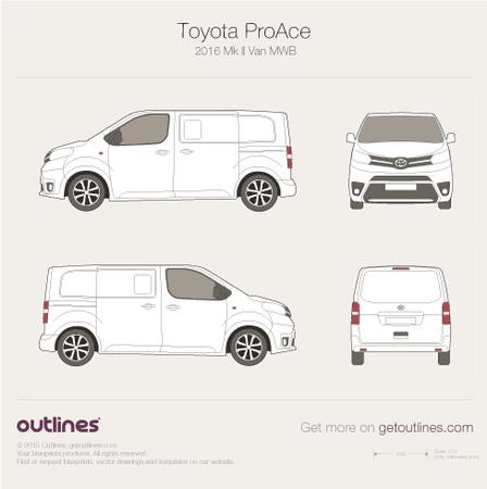 2016 Toyota ProAce II Medium Van blueprint