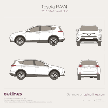 2015 Toyota RAV4 CA40 Facelift SUV blueprints and drawings