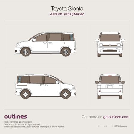 2003 Toyota Sienta XP80 Minivan blueprints and drawings