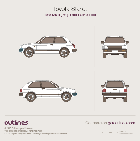 1987 Toyota Starlet P70 Hatchback blueprints and drawings