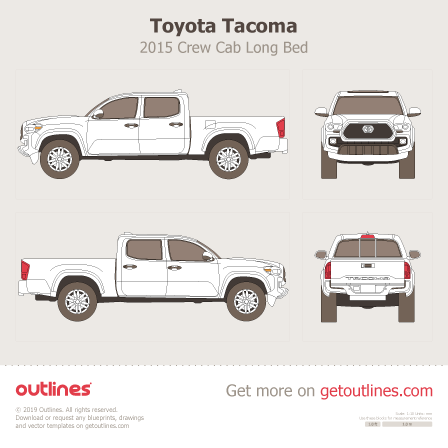 2015 Toyota Tacoma III Pickup Truck blueprints and drawings