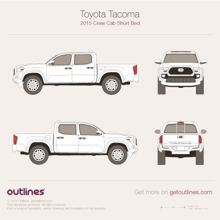 2015 Toyota Tacoma III Crew Cab Short Bed Pickup Truck blueprint