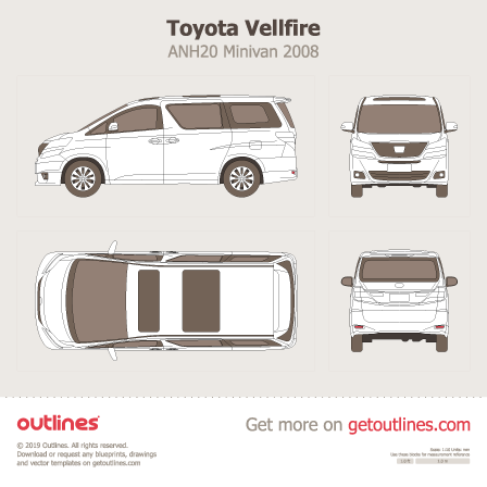 2008 Toyota Vellfire ANH20 Minivan blueprints and drawings