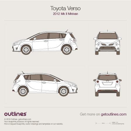 2012 Toyota Verso AR20 Facelift Minivan blueprint