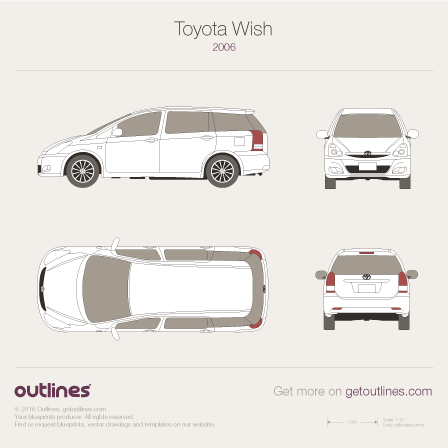 2005 Toyota Wish Minivan blueprints and drawings