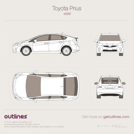 2009 Toyota Prius Hybrid Hatchback blueprint