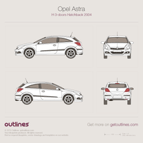2004 Vauxhall Astra H 3-doors Hatchback blueprint
