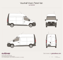 2015 Opel Vivaro Panel Van L2 H2 Twin doors Van blueprint
