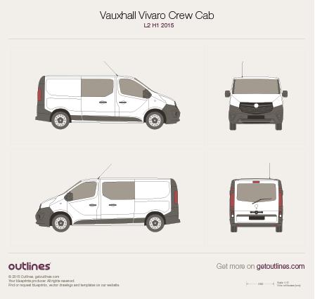 2015 Opel Vivaro Crew Cab L2 H1 Tailgate Wagon blueprint
