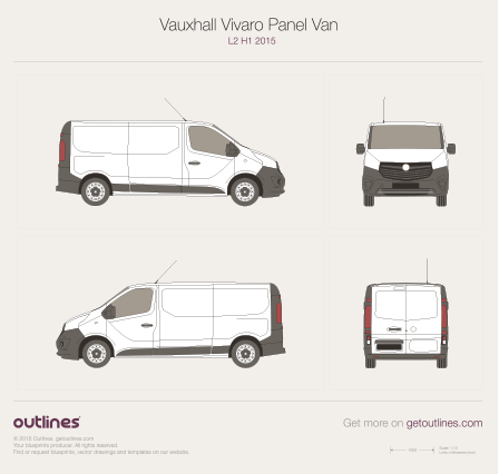 2015 Vauxhall Vivaro Panel Van Van blueprints and drawings