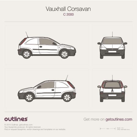 2000 Vauxhall Corsavan C Microvan blueprint