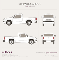 2010 Volkswagen Amarok Single Cab Pickup Truck blueprint