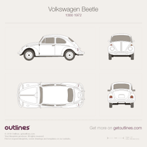 1970 Volkswagen Beetle Super Beetle 1300 / 1500 Sedan blueprint