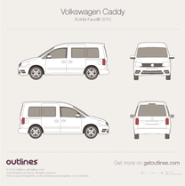 2015 Volkswagen Caddy Kombi Typ 2K Facelift II Wagon blueprint