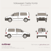 2010 Volkswagen Caddy Kombi Typ 2K Facelift Wagon blueprint