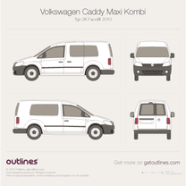 2010 Volkswagen Caddy Maxi Kombi Typ 2K Facelift Wagon blueprint
