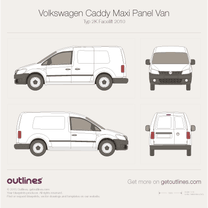 2010 Volkswagen Caddy Maxi Panel Van Typ 2K LWB Facelift Van blueprint