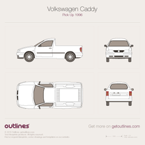 1997 Volkswagen Caddy Pick Up Pickup Truck blueprint