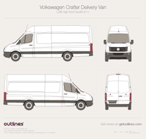 2011 Volkswagen Crafter Delivery Van LWB High Roof Facelift Van blueprint