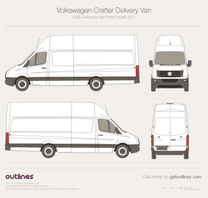 2011 Volkswagen Crafter Delivery Van LWB Overhang Super-High Roof Facelift Van blueprint