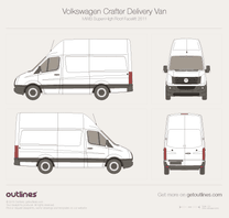2011 Volkswagen Crafter Delivery Van MWB Super-High Roof Facelift Van blueprint