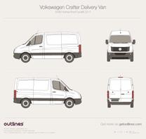 2011 Volkswagen Crafter Delivery Van SWB Normal Roof Facelift Van blueprint