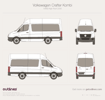 2006 Volkswagen Crafter Kombi MWB High Roof Wagon blueprint