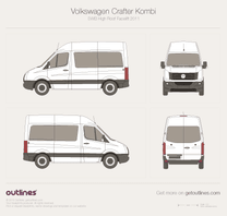 2011 Volkswagen Crafter Kombi SWB High Roof Facelift Wagon blueprint
