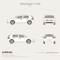 2012 Volkswagen Golf Electric Mk7 5-door Hatchback blueprint