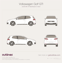 2009 Volkswagen Golf GTi Mk VI 3-doors Hatchback blueprint