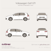 2009 Volkswagen Golf GTi Mk VI 5-doors Hatchback blueprint