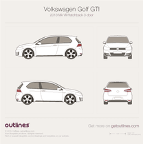 2013 Volkswagen Golf GTi Mk VII 3-doors Hatchback blueprint