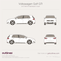 2013 Volkswagen Golf GTi Mk VII 5-doors Hatchback blueprint
