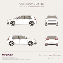 2017 Volkswagen Golf GTI Mk VII 5-door Facelift Hatchback blueprint