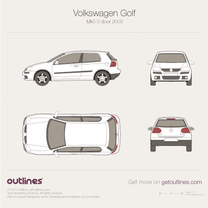 2003 Volkswagen Golf Mk5 3-door Hatchback blueprint
