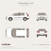 2003 Volkswagen Golf Mk5 5-door Hatchback blueprint