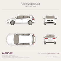 2009 Volkswagen Golf Mk6 5-door Hatchback blueprint