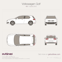 2012 Volkswagen Golf Mk7 3-door Hatchback blueprint